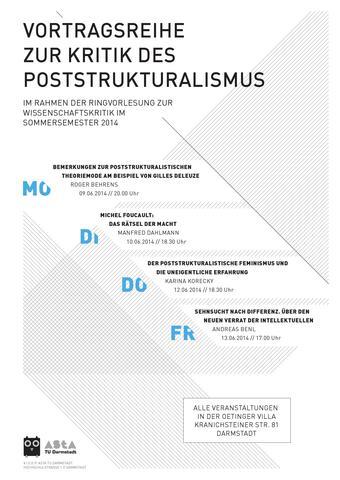 Vortragsreihe Kritik des Poststrukturalismus TU Darmstadt